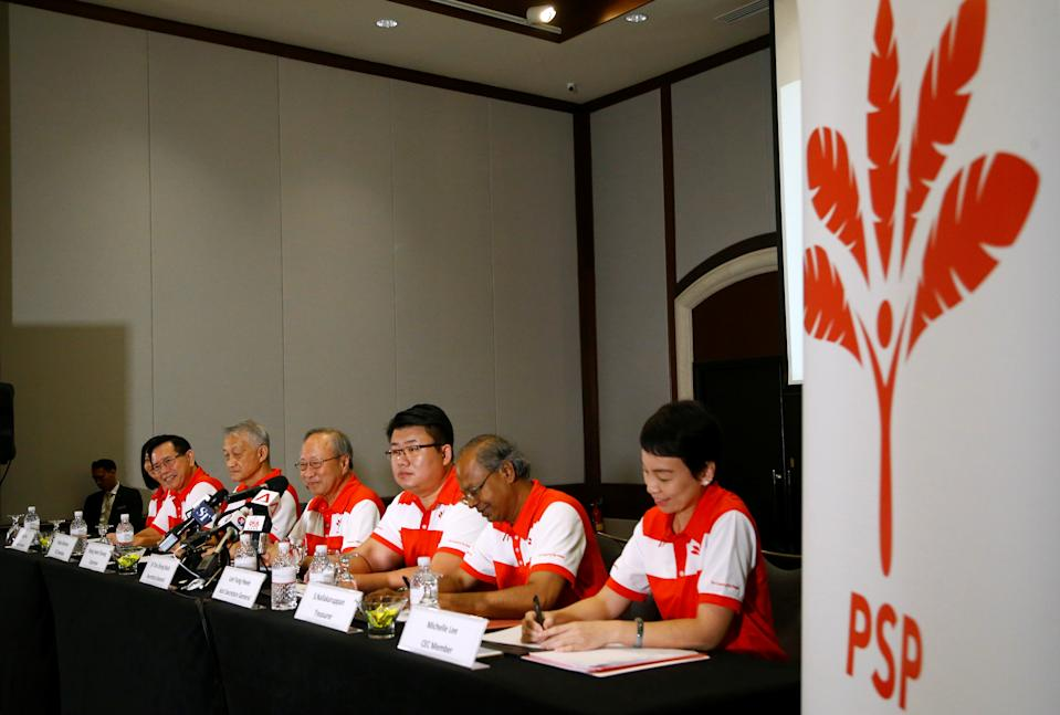 Members of the newly-launched Progress Singapore Party (PSP) attend a press conference for the media in Singapore, July 26, 2019. REUTERS/Feline Lim