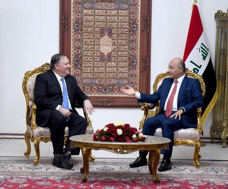 Iraq's President Barham Salih meets with U.S. Secretary of State Mike Pompeo in Baghdad, Iraq May 7, 2019.The Presidency of the Republic of Iraq Office/Handout via REUTERS