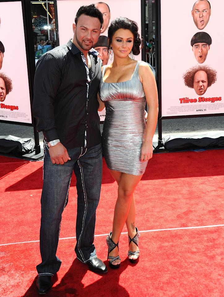 """HOLLYWOOD, CA - APRIL 07:  Roger Mathews (L-R) and Jenny 'JWOWW' Farley attend the Los Angeles premiere of """"The Three Stooges"""" on April 7, 2012 in Hollywood, California.  (Photo by Michael Buckner/Getty Images)"""