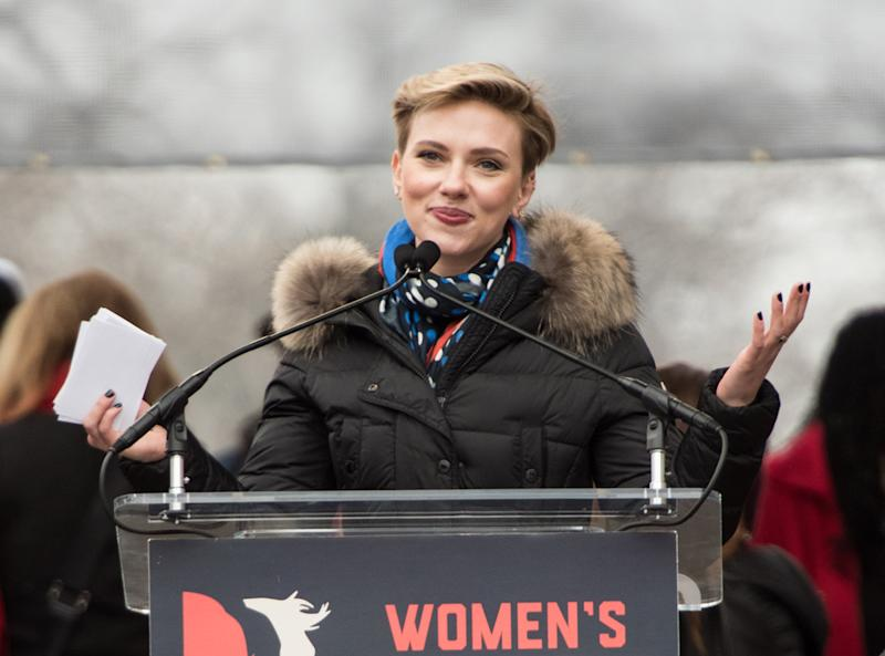 Scarlett Johansson delivers a speech at the Women's March on Washington on January 21, 2017 in Washington, DC. (Photo: Getty Images)