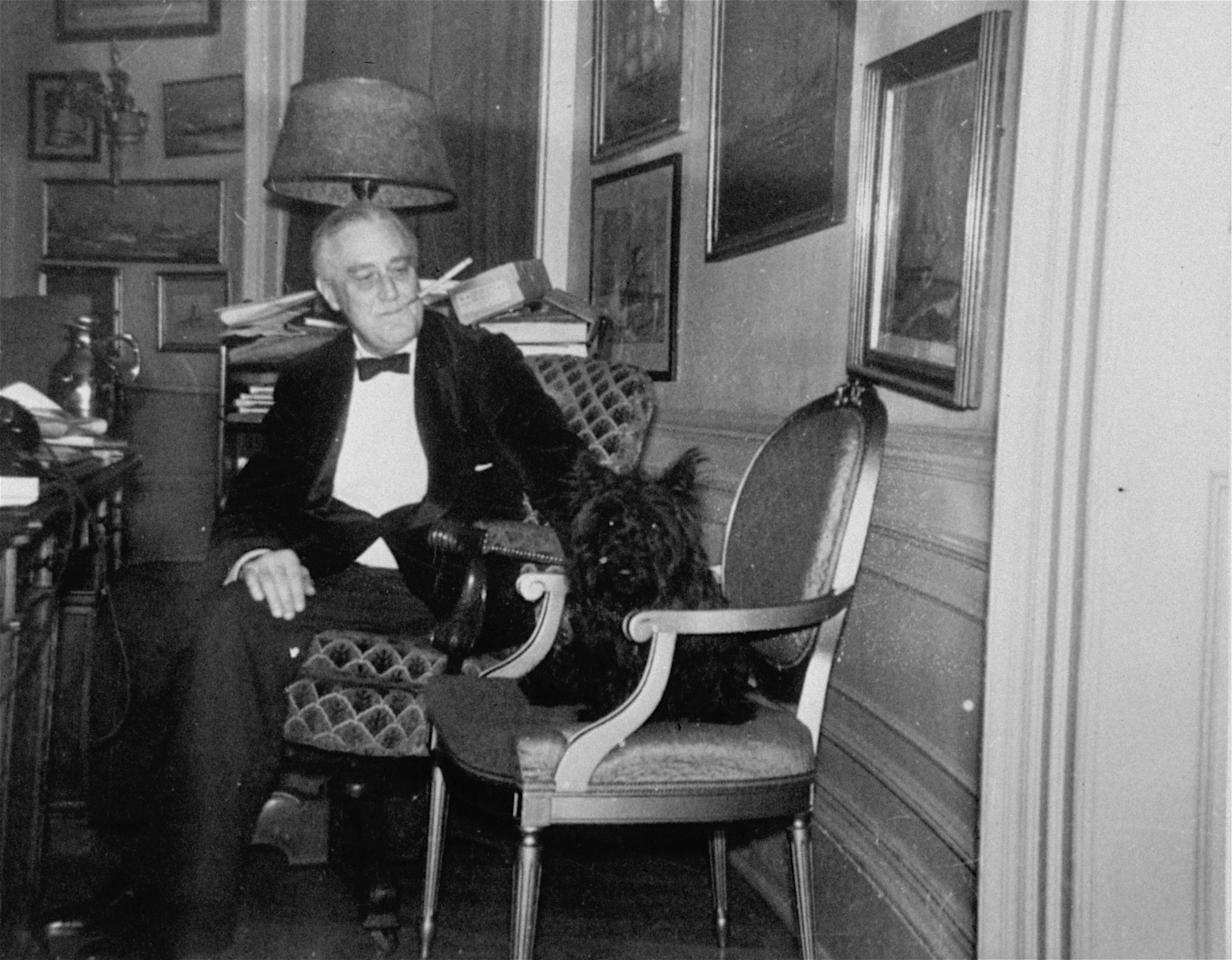 An undated photo of President Franklin D. Roosevelt with his scotch terrier Fala.  (AP Photo/FDR Library)