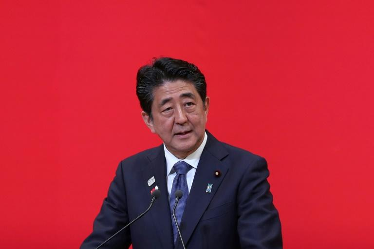Japanese Prime Minister Shinzo Abe was praised in a YouTube video played to the staff of a major South Korean cosmetics firm