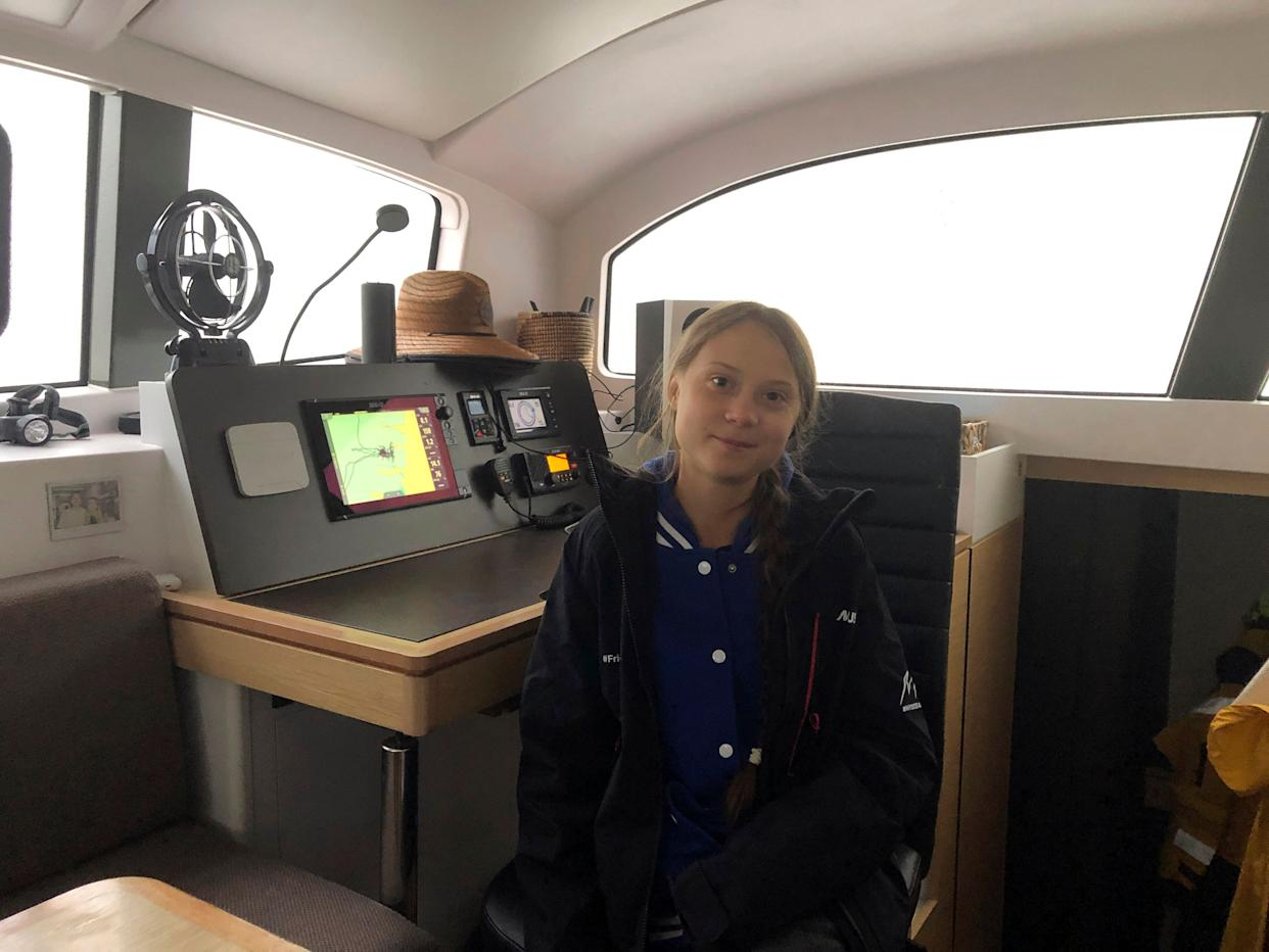 Greta Thunberg, a 16-year-old climate activist from Sweden, aboard a catamaran docked in Hampton, Virginia, on Tuesday. (Photo: Ben Finley/ASSOCIATED PRESS)