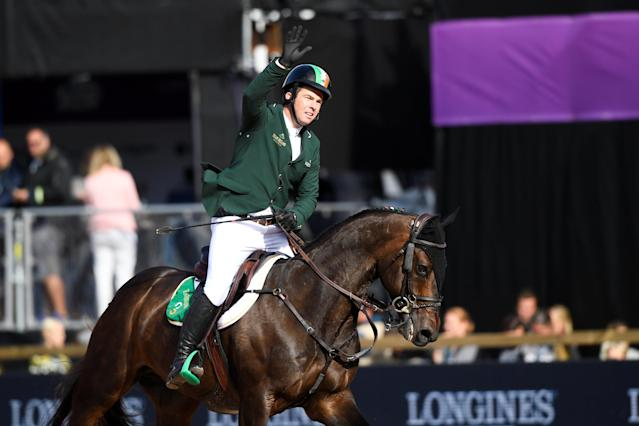 Equestrian - FEI European Championships 2017 - Jumping Individual Final - Ullevi Stadium, Gothenburg, Sweden - August 27, 2017 - Cian O'Connor of Ireland on his horse Good Luck celebrates. TT News Agency/Pontus Lundahl via REUTERS ATTENTION EDITORS - THIS IMAGE WAS PROVIDED BY A THIRD PARTY. SWEDEN OUT. NO COMMERCIAL OR EDITORIAL SALES IN SWEDEN