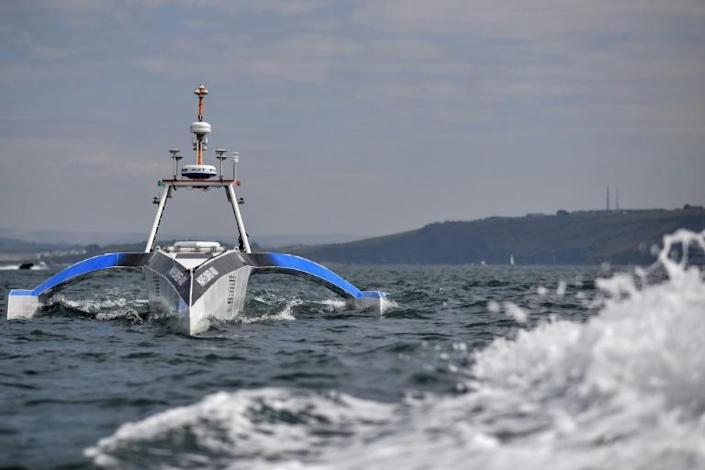 The Mayflower 400 autonomous trimaran during sea trials in Plymouth this week