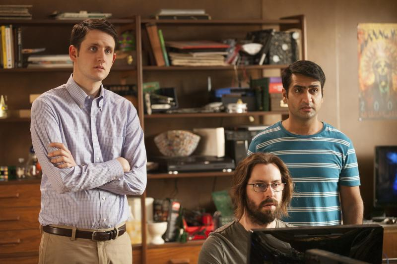 "Zach Woods, Martin Starr and Kumail Nanjiani as Jared Dunn, Gilfoyle and Dinesh in ""Silicon Valley"". (Photo: HBO)"