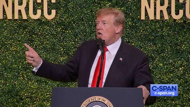 PHOTO: President Donald Trump mimics the movement of a windmill while delivering his speech at the NRCC Spring Dinner in Washington, April 2, 2019. (C-SPAN)