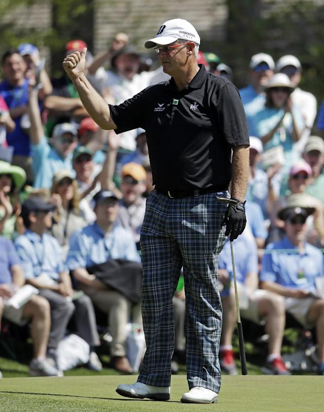 Sandy Lyle, of Scotland, gives a thumb up after a birdie on the sixth green during the third round of the Masters golf tournament Saturday, April 12, 2014, in Augusta, Ga. (AP Photo/Darron Cummings)