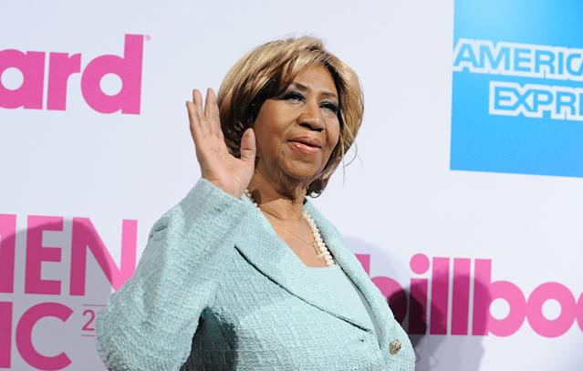 <p>Franklin at the Billboard Women in Music at Cipriani Wall Street, in New York, in 2014. (Rex) </p>