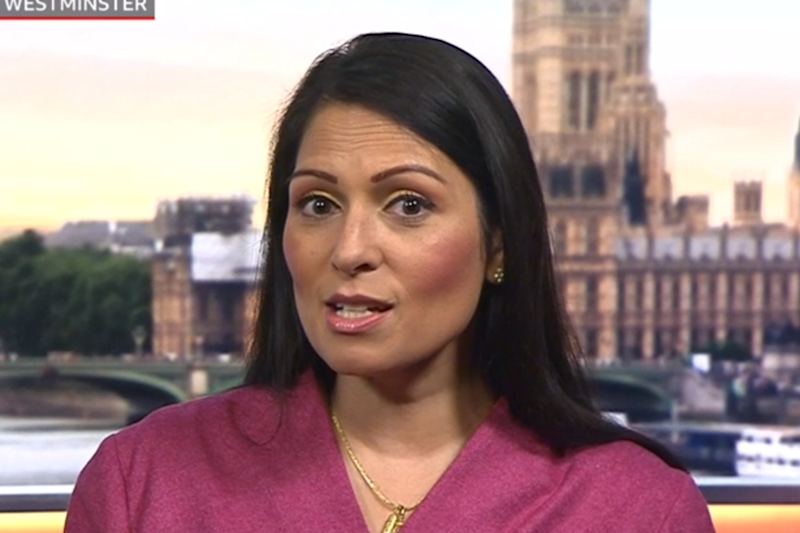 Priti Patel defended PM Boris Johnson after Dave's politically-charged Brits rap (BBC )