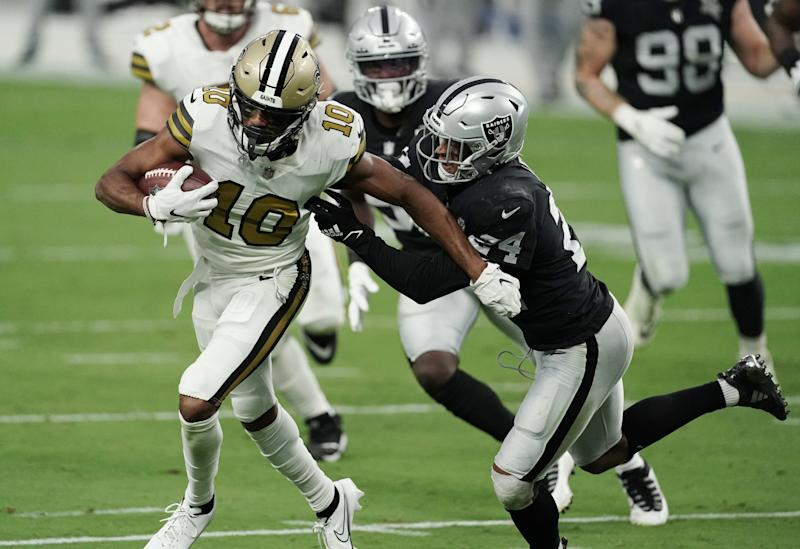 After near injury, Raiders SS Johnathan Abram brings second-half energy vs. Saints