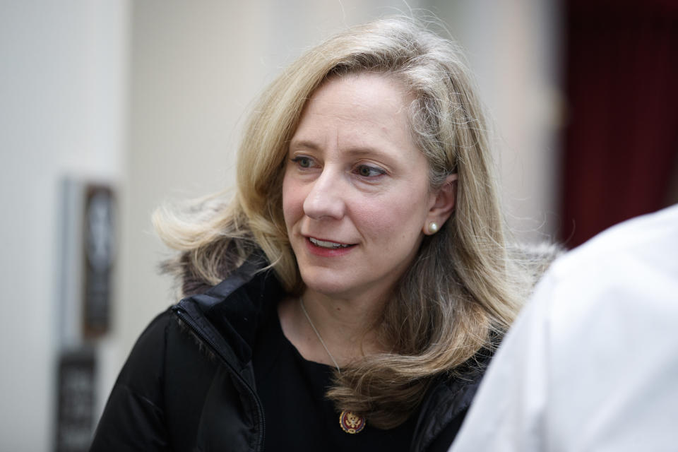 Rep. Abigail Spanberger, D-Va. walks to a closed Democratic Caucus meeting on Capitol Hill in Washington, Friday, Jan. 4, 2019. (AP Photo/Carolyn Kaster)