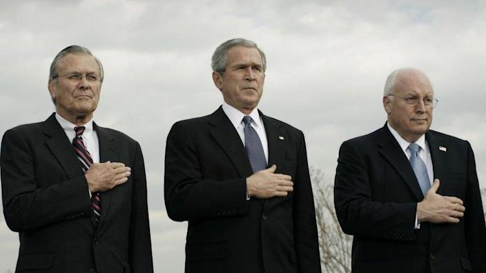 US Secretary of Defense Donald Rumsfeld, US President George W. Bush, Vice President Richard Cheney at the Armed Forces Full Honor Review in Honor of the Secretary of Defense at the Pentagon December 15, 2006 in Arlington, Virginia