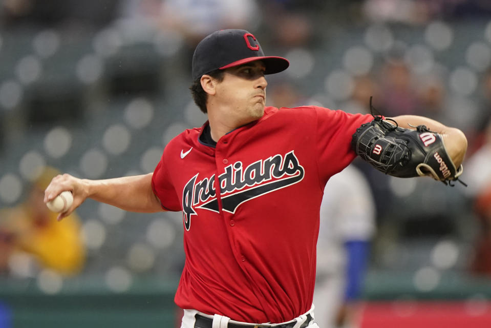 Cleveland Indians starting pitcher Cal Quantrill delivers in the first inning of a baseball game against the Kansas City Royals, Tuesday, Sept. 21, 2021, in Cleveland. (AP Photo/Tony Dejak)