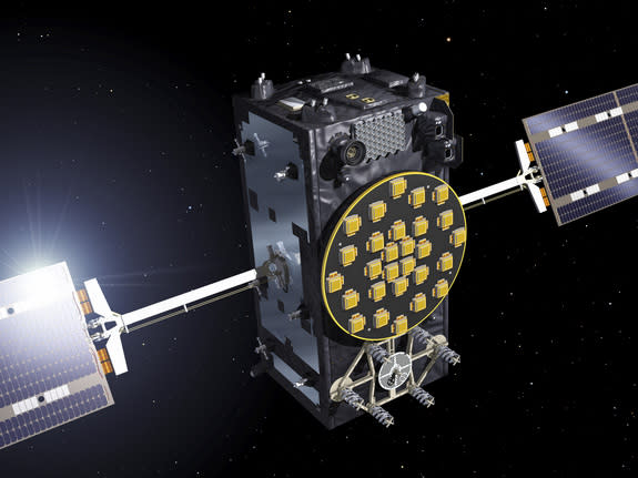 An artist's illustration of one of two European Galileo navigation system satellites launched into the wrong orbit by a Russian Soyuz rocket on Aug. 22, 2014.