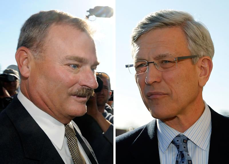 FILE - In these Nov. 7, 2011 file photos, former Penn State vice president Gary Schultz, left, and former athletic director Tim Curley, right, enter a district judges office for an arraignment in Harrisburg Pa. Trial may be months away forSchultz and Curley, the two Penn State administrators charged with mishandling a 2001 sex abuse complaint regarding Jerry Sandusky and lying to a grand jury about it. But testimony at Sandusky's recent criminal trial, and the former assistant football coach's acquittal on one of the counts and leaked decade-old email traffic could have legal implications for the two administrators, Tim Curley and Gary Schultz.  (AP Photo/Brad Bower, left, Matt Rourke, File)