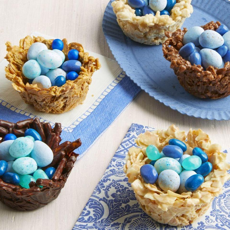 "<p>These cute treats will be a hit for both kids and adults. Make a variety of nests, including butterscotch, pretzel, and cereal bites.</p><p><strong><a href=""https://www.thepioneerwoman.com/food-cooking/recipes/a35725859/chocolate-nest-eggs-basket-easter-recipe/"" rel=""nofollow noopener"" target=""_blank"" data-ylk=""slk:Get Ree's recipe."" class=""link rapid-noclick-resp"">Get Ree's recipe.</a></strong></p><p><a class=""link rapid-noclick-resp"" href=""https://go.redirectingat.com?id=74968X1596630&url=https%3A%2F%2Fwww.walmart.com%2Fsearch%2F%3Fquery%3Dmuffin%2Bpans&sref=https%3A%2F%2Fwww.thepioneerwoman.com%2Ffood-cooking%2Fmeals-menus%2Fg35408493%2Feaster-desserts%2F"" rel=""nofollow noopener"" target=""_blank"" data-ylk=""slk:SHOP MUFFIN PANS"">SHOP MUFFIN PANS</a></p>"