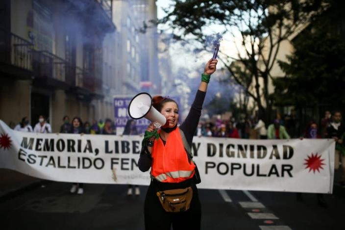 Protest to mark the International Day for the Elimination of Violence against Women, in Bogota