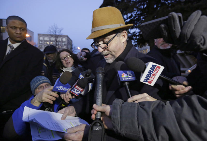 Former defense lawyer for Drew Peterson, Joel Brodsky responds to allegations from the members of Peterson's current defense team with the media outside the Will County Courthouse Wednesday, Feb. 20, 2013, in Joliet, Ill., after the second day of a hearing in the former suburban Chicago police officer's request for a new trial. The defense is seeking to bolster arguments Peterson deserved a retrial on charges he murdered his third wife, Kathleen Savio. Peterson's attorneys contend his former lead trial attorney, Joel Brodsky, botched his case. After two days of arguments Judge Edward Burmila said he would deliver his ruling when court resumes at 1 p.m. Thursday. (AP Photo/M. Spencer Green)