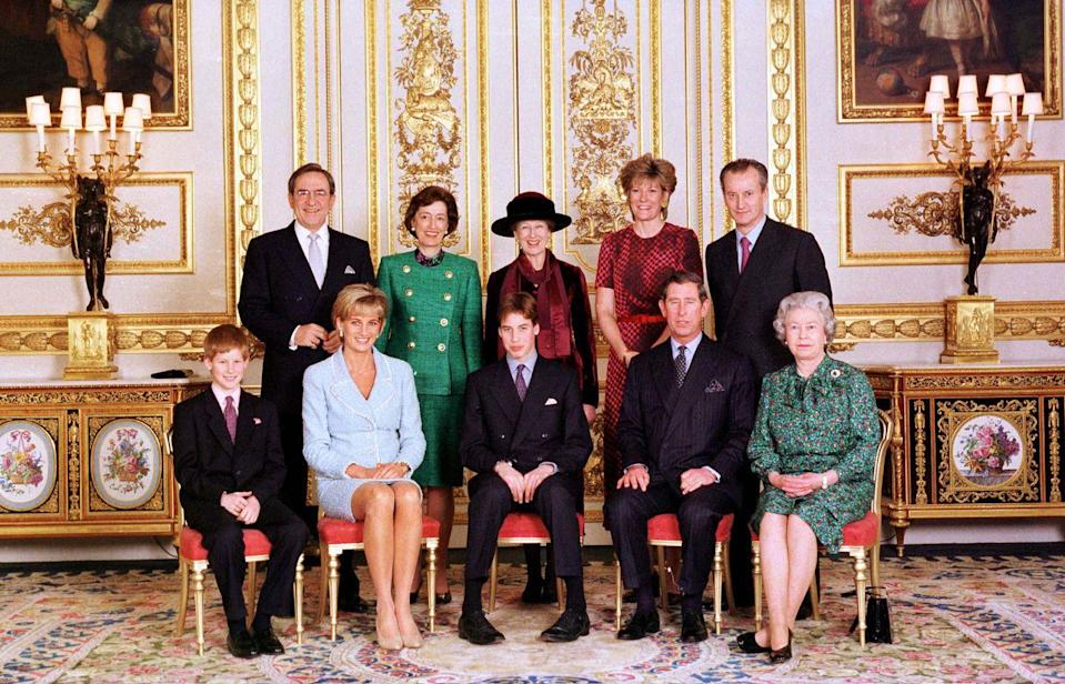 <p>The royal family poses for 14-year-old Prince William's confirmation. Prince Harry, Princess Diana, Prince Charles, the Queen, King Constantine, Lady Susan Hussey, Princess Alexandra, the Duchess of Westminster, and Lord Romsey join William for the portrait, taken at Windsor Palace.</p>