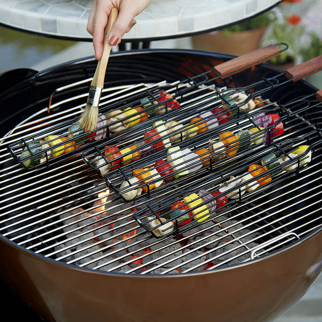 and vegetables skewers BBQ Grill Basket with handles Roasting Rack for grilling meat