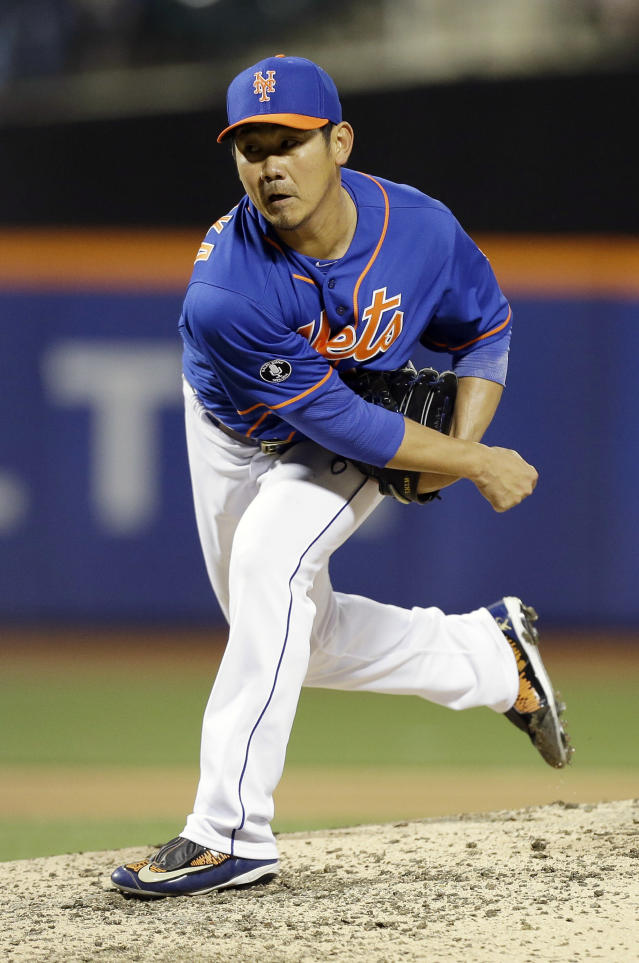 New York Mets' Daisuke Matsuzaka, of Japan, delivers a pitch during the seventh inning of a baseball game against the St. Louis Cardinals, Wednesday, April 23, 2014, in New York. (AP Photo/Frank Franklin II)