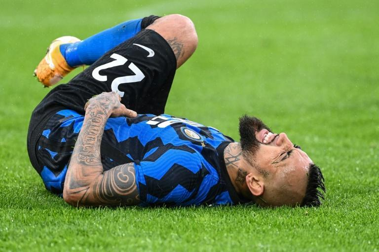 Inter Milan's Chilean midfielder Arturo Vidal came off injured against Roma.