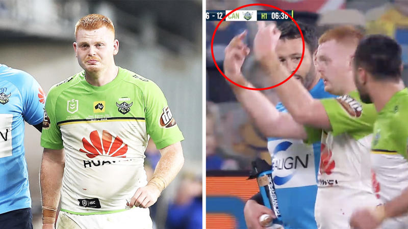 The Raiders have jumped to the defence of Corey Horsburgh after he flipped the crowd the bird after he was booed off the field following an injury. (Getty Images/Fox Sports)