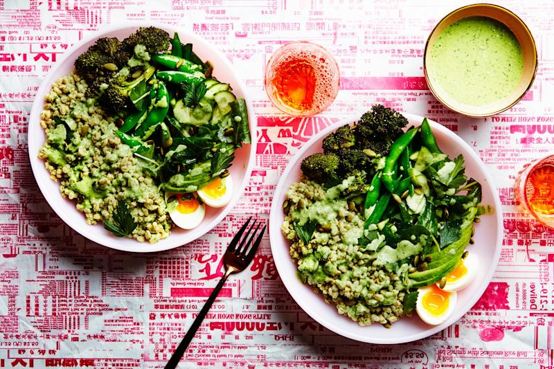 Buddha bowls aren't really about Buddha. But they are delicious—especially this one, which is packed full of greens and topped with an herby Green Goddess dressing.