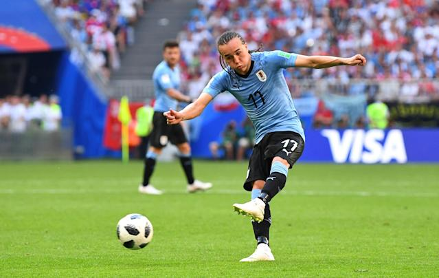 Soccer Football - World Cup - Group A - Uruguay vs Russia - Samara Arena, Samara, Russia - June 25, 2018 Uruguay's Diego Laxalt scores their second goal REUTERS/Dylan Martinez