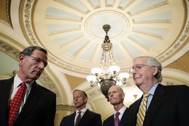 PHOTO: Sen. John Barrasso, Senate Minority Whip Sen. John Thune, Sen. Rick Scott and Senate Minority Leader Sen. Mitch McConnell during a news briefing after the weekly Senate Republican Policy Luncheon at the Capitol, June 22, 2021, in Washington, DC. (Alex Wong/Getty Images)