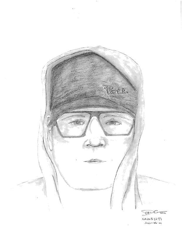 The suspect is described as approximately five foot 10 with an average build. He was wearing a black hoodie with the hood up, blue jeans, brown boots, sunglasses and a baseball cap. (Calgary Police Service - image credit)