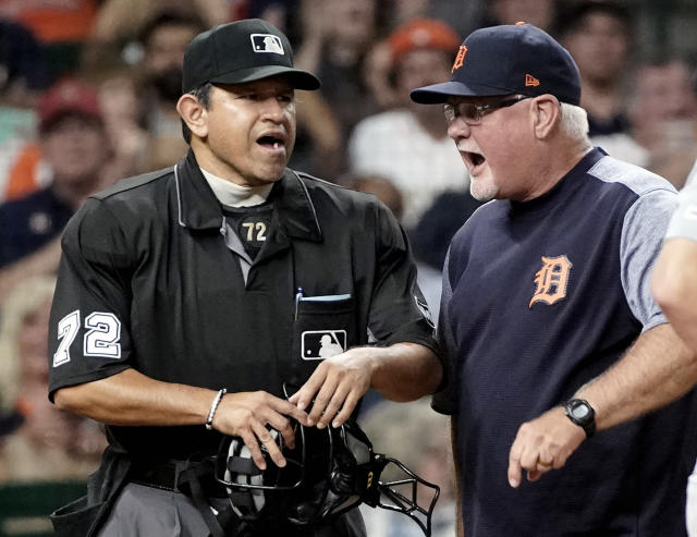 Detroit Tigers manager Ron Gardenhire, right, argues with home plate umpire Alfonso Marquez (72) after being ejected during the fifth inning of a baseball game Monday, Aug. 19, 2019, in Houston. (AP Photo/David J. Phillip)