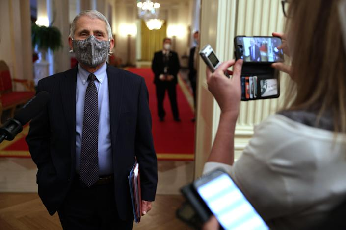 Dr Anthony Fauci talks to members of the press (Getty Images)