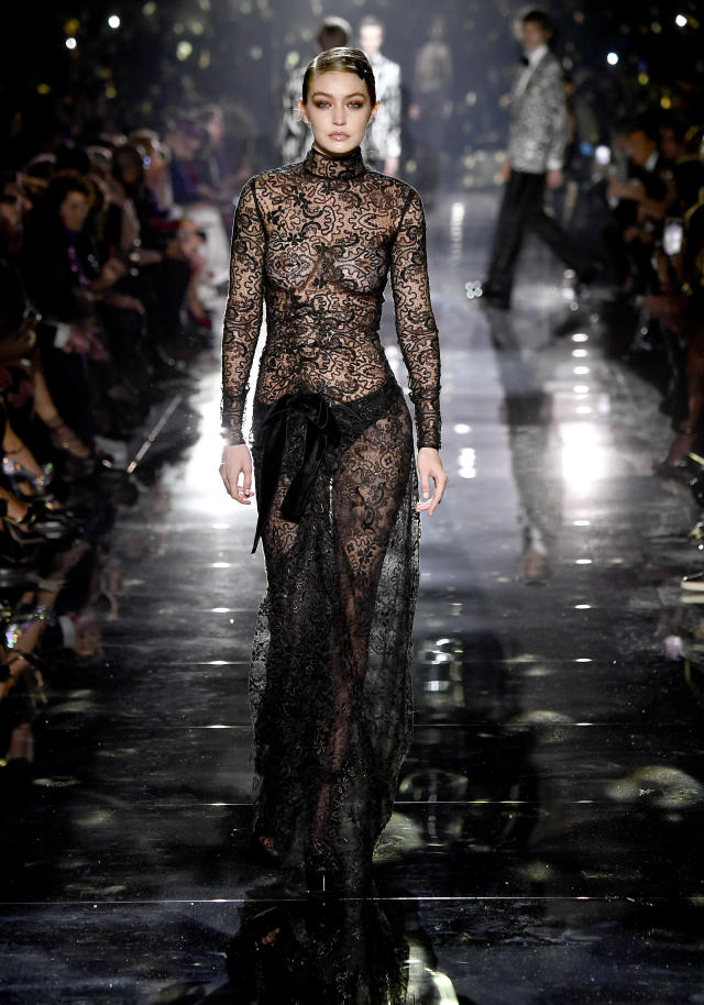 Gigi Hadid also wore a sheer number on the catwalk. Photo: Getty Images