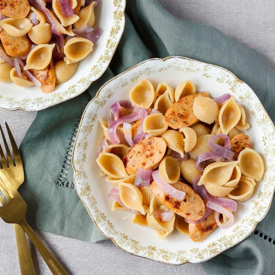 <p>Convenient fully cooked chicken sausage is a great flavor starter for this easy pasta recipe with just three ingredients you can keep stocked in your freezer or pantry for fast dinners. Just add some sautéed onions and pasta and you have a super-simple meal that the entire family will love</p>