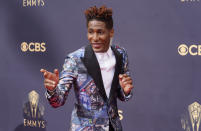 Jon Batiste arrives at the 73rd Primetime Emmy Awards on Sunday, Sept. 19, 2021, at L.A. Live in Los Angeles. (AP Photo/Chris Pizzello)