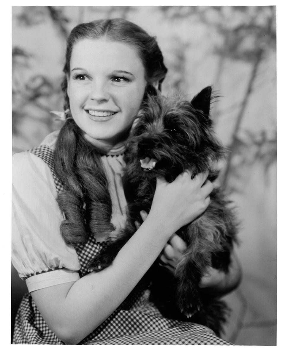 """Garland in a promotional image for the 1939 film """"The Wizard of Oz."""""""