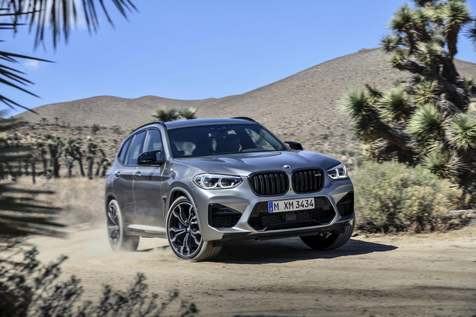 This photo provided by BMW shows the 2020 X3 M Competition, a performance variant of the popular luxury crossover known for engaging handling and class-leading cargo space. (Courtesy of BMW of North America via AP)