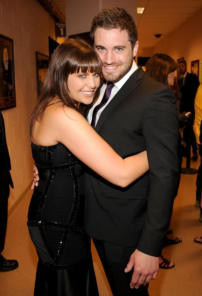 LAS VEGAS, NV - APRIL 03:  Musician Hillary Scott of the group Lady Antebellum (L) and Chris Tyrell backstage at the 46th Annual Academy Of Country Music Awards held at the MGM Grand Garden Arena on April 3, 2011 in Las Vegas, Nevada.  (Photo by Rick Diamond/ACMA2011/Getty Images for ACM) *** Local Caption *** Hillary Scott;Chris Tyrell