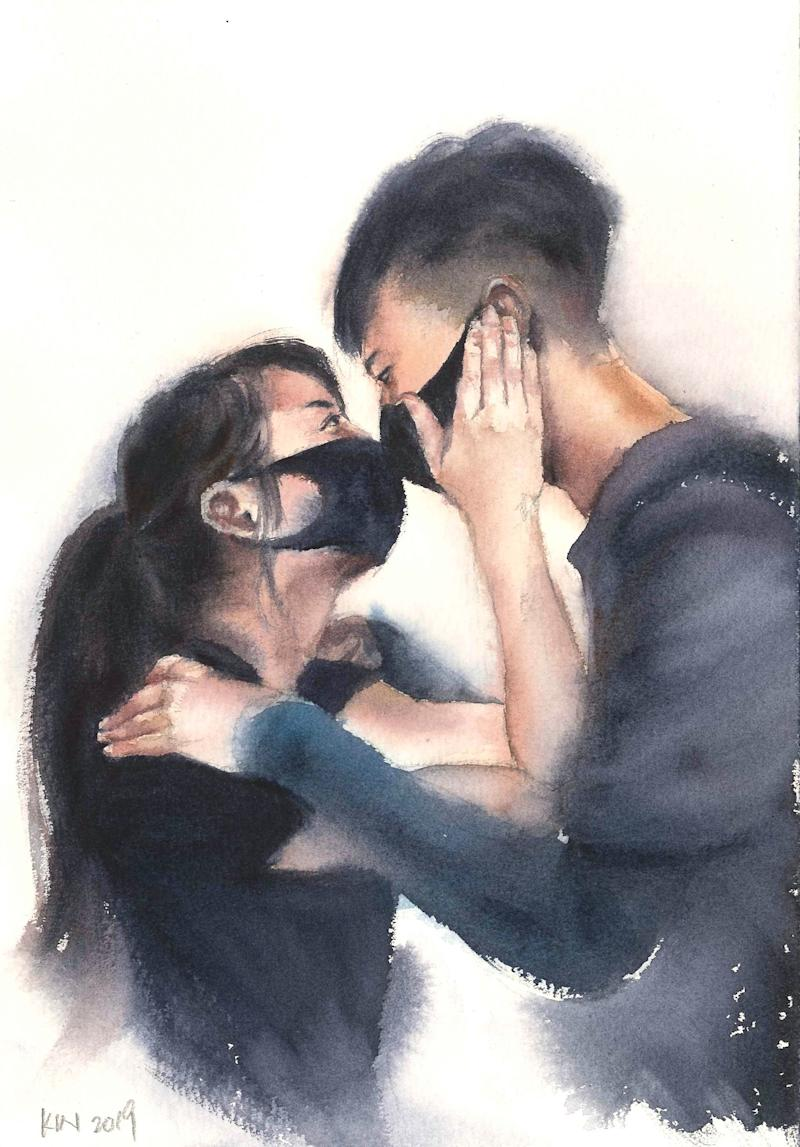 A drawing by Fung Kin Fan based on a photo taken by Reuters correspondent James Pomfret showing a young couple in masks.