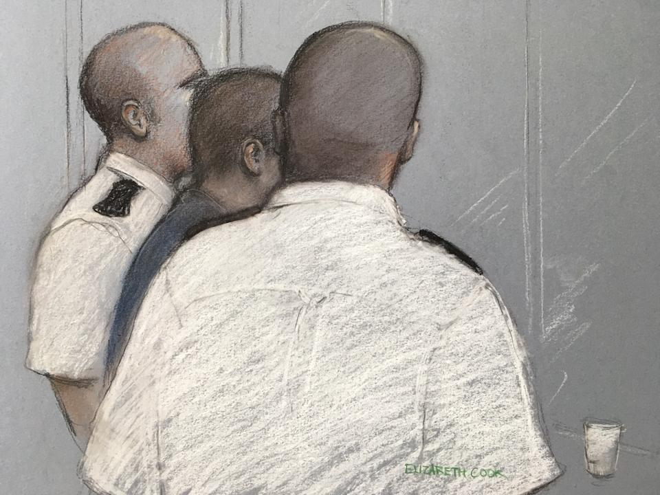 Court artist sketch by Elizabeth Cook of the 17 year old appearing at the Old Bailey in London charged with attempted murder after allegedly throwing a six-year-old boy from a viewing platform at the Tate Modern art gallery.
