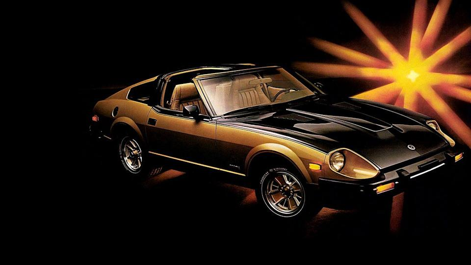 """<p>Not just any 280ZX could make this list. The 10th Anniversary Edition that was released in 1980 does. Nicknamed """"Black Gold"""" because of its color scheme inside and out, this special edition was completely over the top. Only 3000 were built, and all were so lavishly appointed that there were virtually no options. Of course, the real reason you're reading about the Black Gold ZX here is, well, because of <a href=""""https://www.youtube.com/watch?v=kWF-hH1nloo"""" rel=""""nofollow noopener"""" target=""""_blank"""" data-ylk=""""slk:the absolutely spectacular ad"""" class=""""link rapid-noclick-resp"""">the absolutely spectacular ad</a> that Datsun ran to promote it. It's all bright gold lights and smoke machines, big hair and mustaches, an earworm of a theme song, and sexually suggestive imagery. <em>—Daniel Golson</em></p>"""