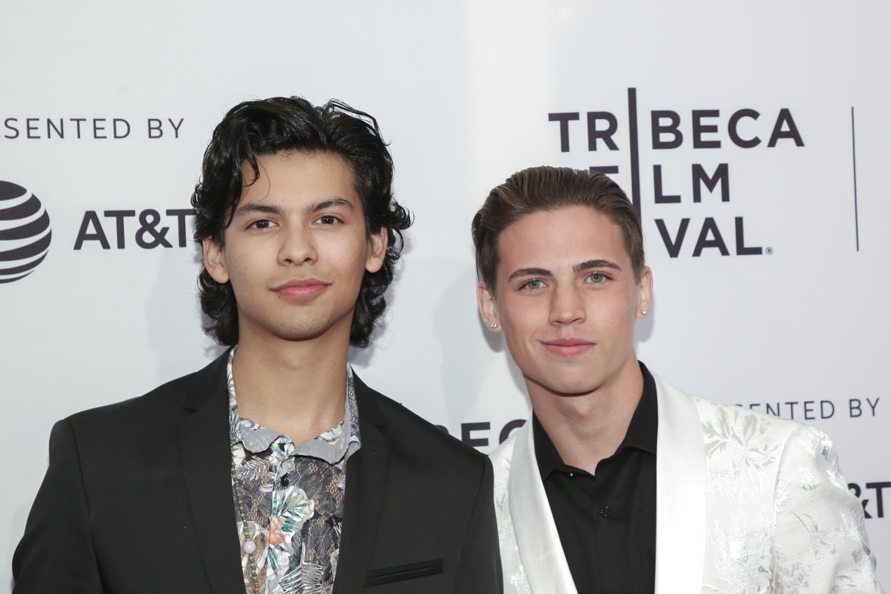 "Actors Xolo Mariduena, left, and Tanner Buchanan attend a screening of ""Tribeca: TV: Cobra Kai"" at the SVA Theatre during the 2018 Tribeca Film Festival on Tuesday, April 24, 2018, in New York. (Photo by Brent N. Clarke/Invision/AP)"