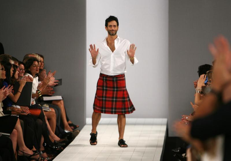 FILE-   This Tuesday, Sept. 9, 2008 file photo shows designer Marc Jacobs as he walks the runway after the showing of his Marc by Marc Jacobs spring 2009 collection during Fashion Week in New York. Jacobs has been selected as this year's lifetime achievement winner by the Council of Fashion Designers of America, a title previously won by Michael Kors, Diane von Furstenberg, Donna Karan, Yves Saint Laurent and Geoffrey Beene, for whom the award is now named.    (AP Photo/Seth Wenig, File)