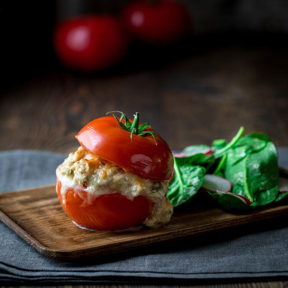 <p>Make a bun out of a tomato in this healthy low-carb tuna melt recipe that swaps bread for veggies. You save 23 grams of carbohydrate and get 1 veggie serving while you're at it!</p>