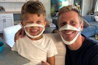 <p>Sean Lowe and son Samuel don BendShape masks so they can protect themselves and others during the pandemic while still showing off their smiles.</p>