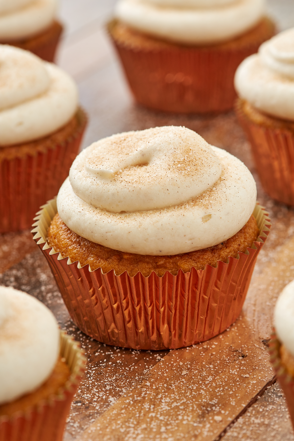 """<p>The cinnamon sugar and cream cheese frosting combo is lethal. </p><p>Get the recipe from <a href=""""https://www.delish.com/cooking/recipe-ideas/a28438880/easy-pumpkin-spice-cupcakes-recipe/"""" rel=""""nofollow noopener"""" target=""""_blank"""" data-ylk=""""slk:Delish"""" class=""""link rapid-noclick-resp"""">Delish</a>. <br></p>"""