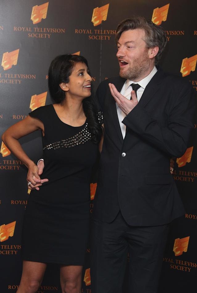 Charlie Brooker and Konnie Huq arrive for the Royal Television Society Programme Awards at Grosvenor Hotel in London, Tuesday, Mar. 19, 2013. (Photo by Joel Ryan/Invision/AP)