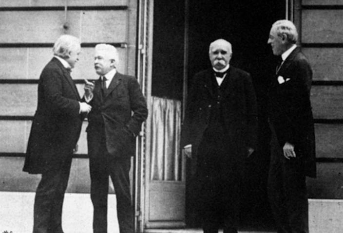"<span class=""caption"">On May 27, 1919, British Prime Minister Lloyd George, Italian President Vittorio Orlando, French Prime Minister Georges Clemenceau and American President Woodrow Wilson met May 27, 1919, during the Paris Peace Conference.</span> <span class=""attribution""><a class=""link rapid-noclick-resp"" href=""https://www.gettyimages.com/detail/news-photo/british-prime-minister-lloyd-george-italian-president-news-photo/3289187?adppopup=true"" rel=""nofollow noopener"" target=""_blank"" data-ylk=""slk:Lee Jackson/Topical Press Agency/Getty Images)"">Lee Jackson/Topical Press Agency/Getty Images)</a></span>"